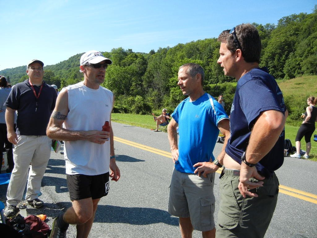 Coach Jack at an aid station in the Vermont 100